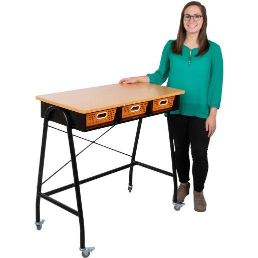 Teacher Standing Desk With Baskets - Water