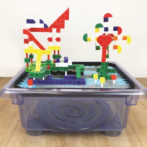 Construction Set Includes Cubes, Blocks, Mirrors, And More and mdash;Plus A Tub To Store It All!
