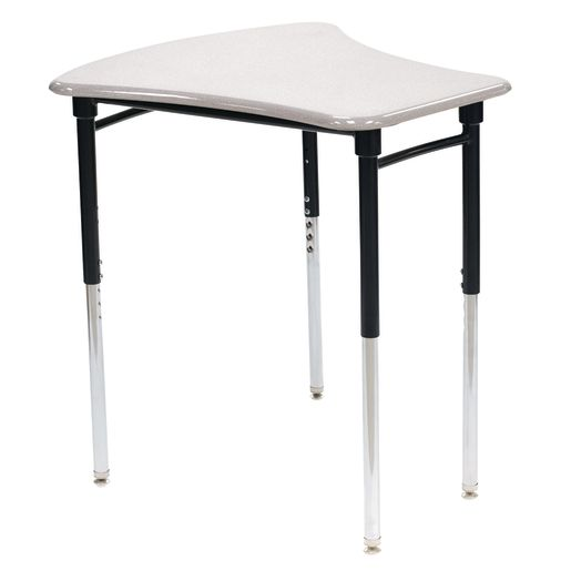 Single Student Mobile Table with Bag Hook, Gray