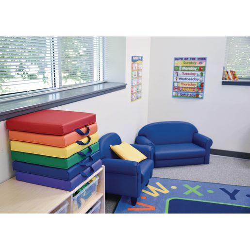 Square Floor Cushions - 6 piece set, Primary