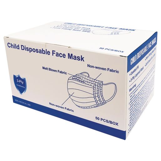 Child-Size Disposable Face Masks 50-Pack