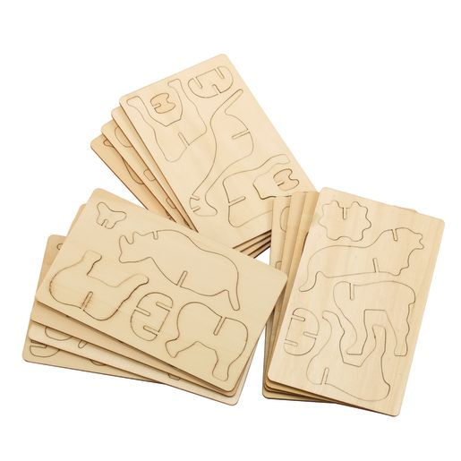 Colorations® Decorate Your Own 3-D Wooden Jungle Puzzles, Set of 4 Designs, Total of 12