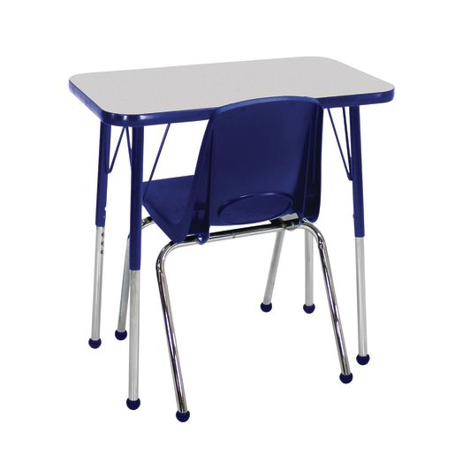 """Single Student Table with 12""""H Chair Set, Gray/Blue"""