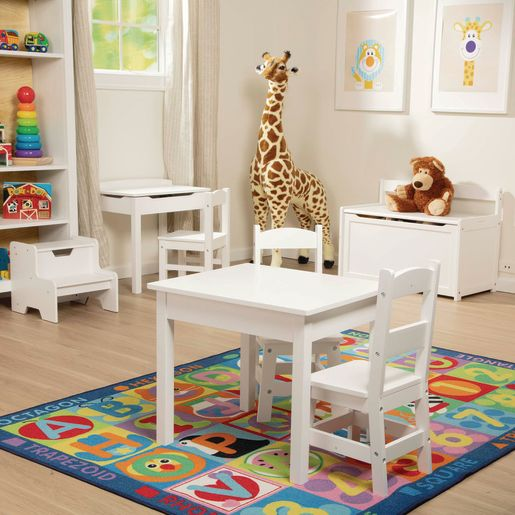 Wood Table and Chairs 3-Piece Set, White
