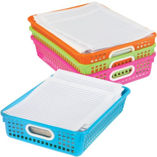 Classroom Paper Baskets with White Handles, Set of 4 - Neon
