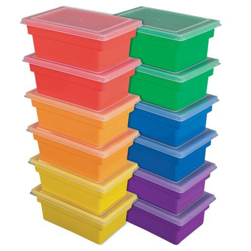 All-Purpose Bins & Lids, Set of 12 - 6 Colors