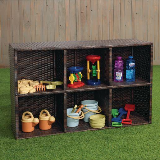 Excellerations® Indoor-Outdoor Wicker-Look Storage Shelf with 6 Cubbies