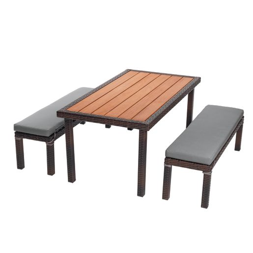 Excellerations® Outdoor Wicker Dining Set, 3-Piece Set with Table and 2 Benches