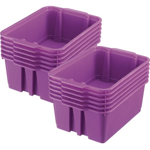 Classroom Stacking Bins, Set of 12 - Purple