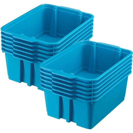 Classroom Stacking Bins, Set of 12 - Neon Blue