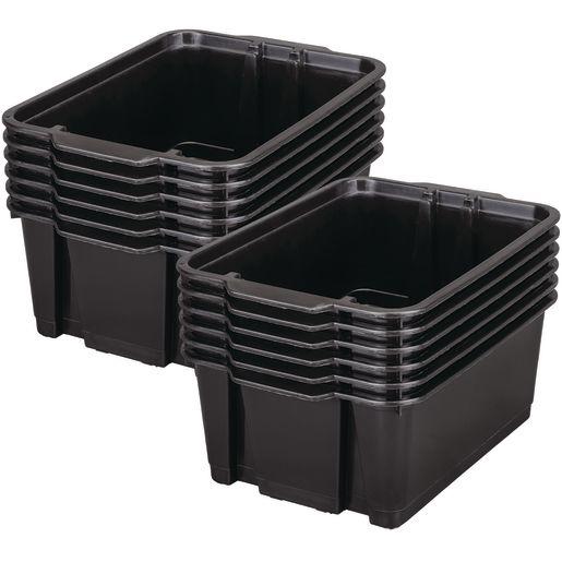 Classroom Stacking Bins, Set of 12 - Black