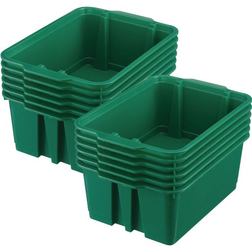 Classroom Stacking Bins, Set of 12 - Green