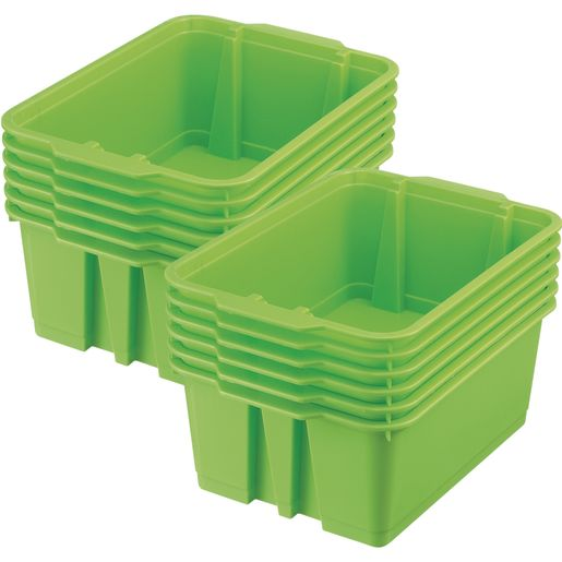 Classroom Stacking Bins, Set of 12 - Neon Green