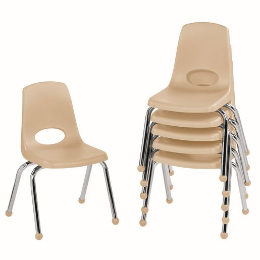 """16"""" Stack Chair with Ball Glides - Sand, Set of 6"""