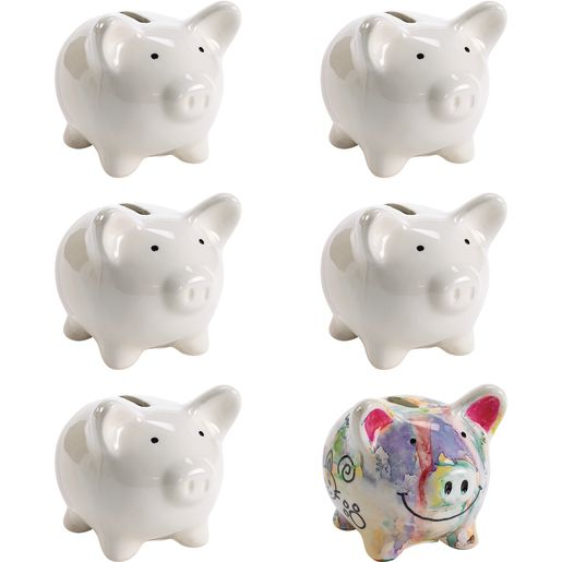 Colorations® Decorate Your Own Piggy Bank, 6 BANKS
