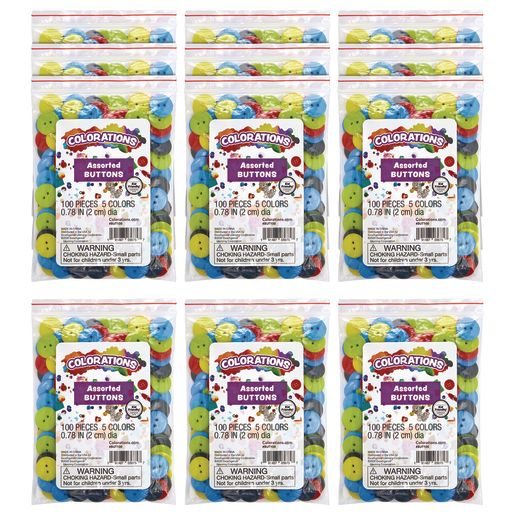 Colorations Crafting Buttons EA 100 PCS, SET OF 12