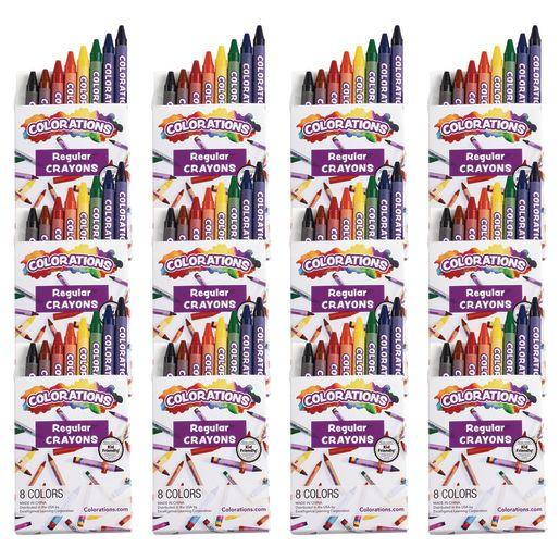 Colorations Regular Crayons, 8 Colors, 12 Sets, TTL 96 Crayons