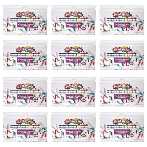 Colorations® Chubby Markers, 16 Colors, 12 Sets Total 192