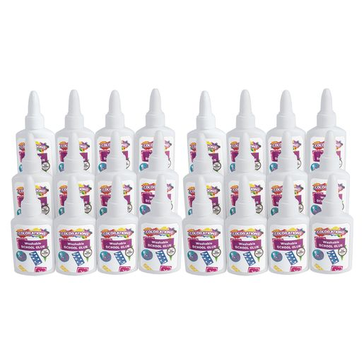 Colorations® White School Glue, 1.25 oz., 24 Sets, Each Set Individually Packaged, Personalize & Decorate for Gifts, Arts & Craft Craft for Children, Kids Crafts for Home or the Classroom