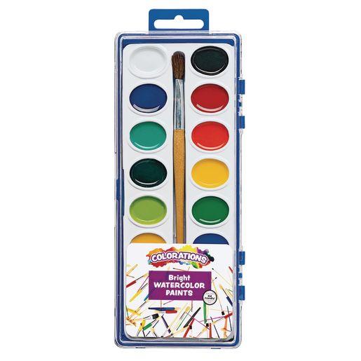 Colorations® Washable Watercolor Paint Palettes, 16 Colors, 12 Sets