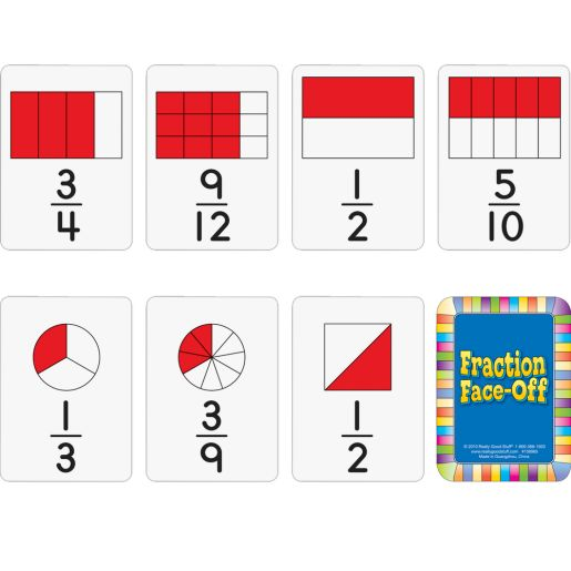 Fraction Faceoff Numeracy Center with Storage Bag - Grab and Go Learning Pack - Children Build Fraction Fluency By Comparing Common Fractions - Grades 3-5