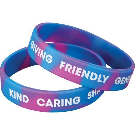 Positive Words Silicone Bracelets - 24 bracelets