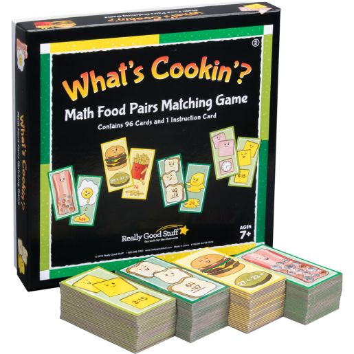 What's Cookin'? Math Food Pairs Matching Game - Second Grade - 4 games