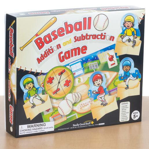 Baseball Addition and Subtraction Math Spin Game - Children Master Addition and Subtraction Facts 0-20 - Up to 4 Players - 100 Unique Math Problems