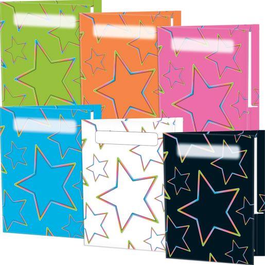 Neon Pop 2-Pocket Folders - Set Of 12 - 6 Colors