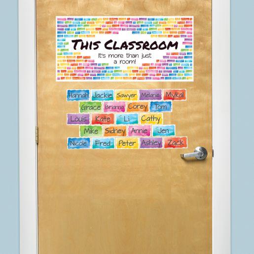 EZ Stick Rainbow Building Blocks Door Sign And Student Name Pieces