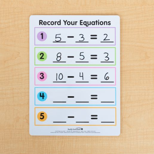 Math Facts Dry Erase Boards  Addition And Subtraction  Set Of 6