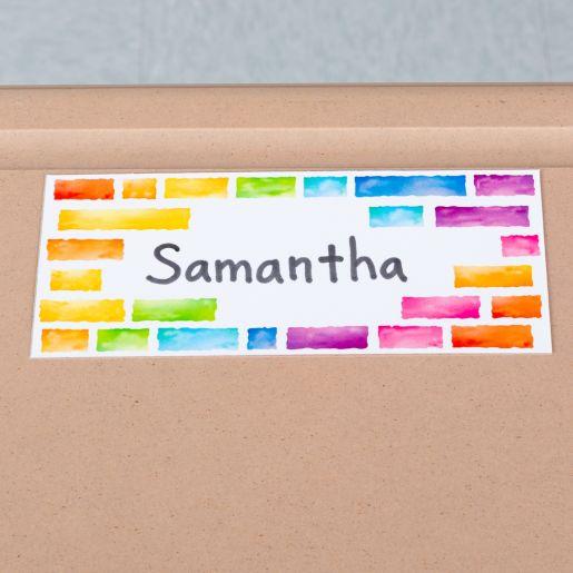 EZ Stick Nameplates  Rainbow Building Blocks - 24 nameplates