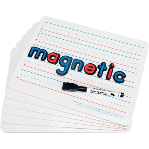 """12"""" X 9"""" Two-Sided Magnetic Primary-Lined Dry Erase Boards - Set Of 6"""