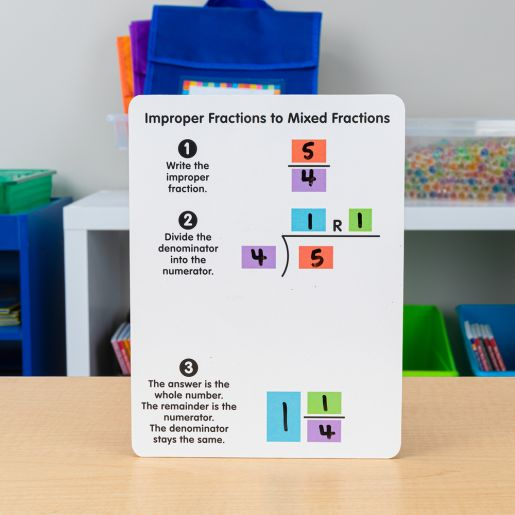Improper And Mixed Fractions Dry Erase Boards - 6 boards
