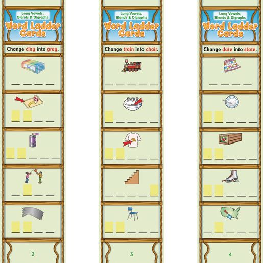 Long Vowels, Blends and Digraphs Word Ladder Cards - 28 cards