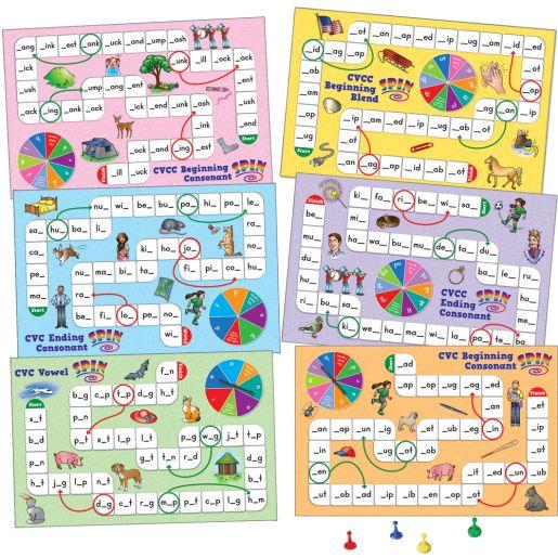 Short Vowel Pattern Word Building Board Games - 1 game