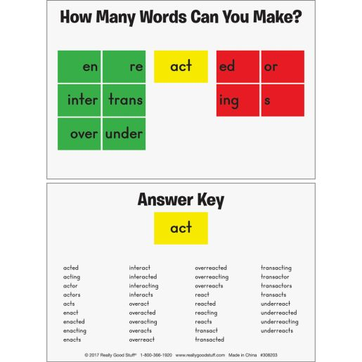 Magnetic Prefix, Base Word, And Suffix Tile Kit - 54 tiles, 26 cards