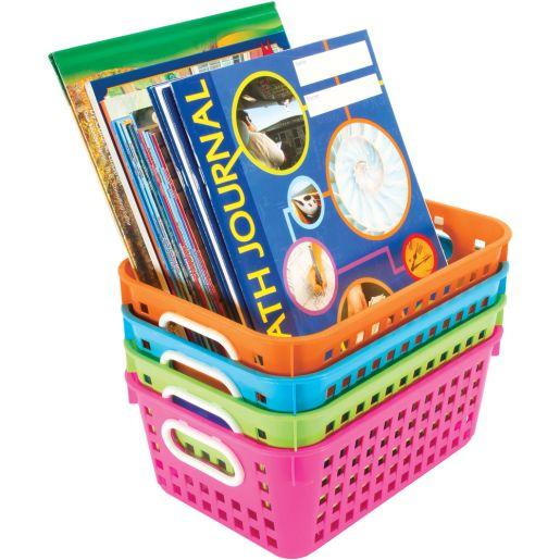 Book Baskets, Medium Rectangle -Neon Colors - 4 baskets