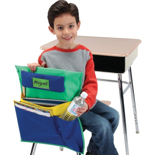 Deluxe Multi-Pocket Chair Pockets with Pencil Case and Water Bottle Holder - 36 Pack - Green/Blue