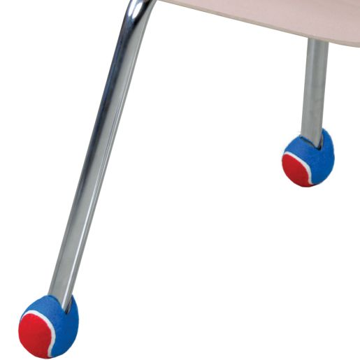 Quiet Chair Stay-Put Foot Covers - Set Of 24 - Red/Blue