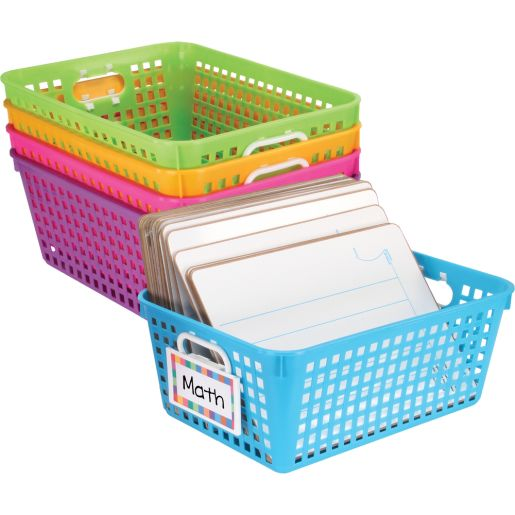 Book Baskets, Large Rectangle With Label Holders - 5-Pack Neon