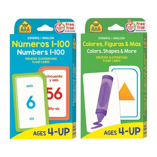 Bilingual Math Flash Cards: Numbers 1-100 and Colors, Shapes, and More (Tarjetas Ilustrativas: Numeros 1-100 y Colores, Figuras, y Mas)