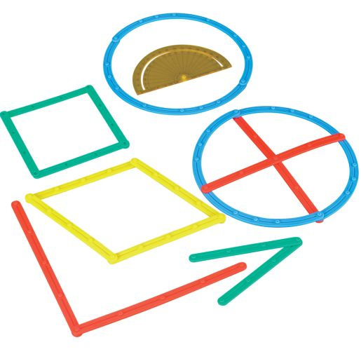 Geometric Plane Figures And Task Cards Kit - 102 pieces, 22 cards