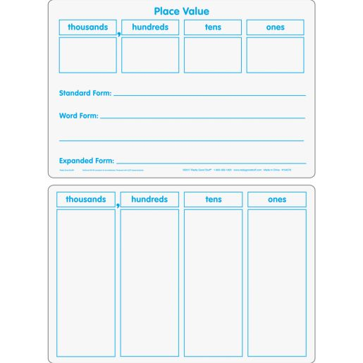 Basic Place Value Dry Erase Boards - 6 boards