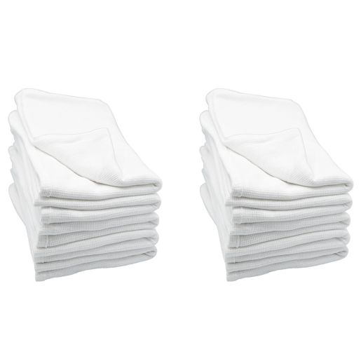 Angeles Cotton Waffle Weave Blankets - White, Set of 12