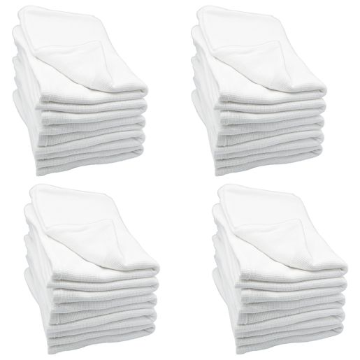 Angeles Cotton Waffle Weave Blankets - White, Set of 24