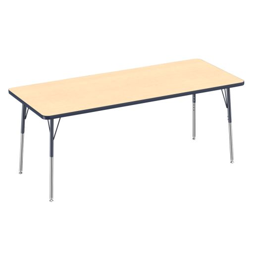"""""""30"""""""" x 72"""""""" Rectangle  Activity Table with Adjustable Legs - Maple/Navy"""""""