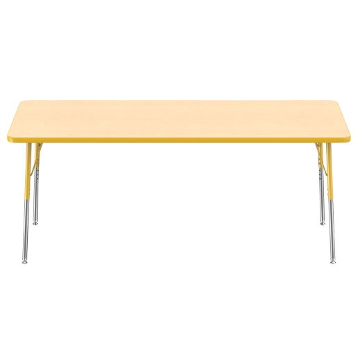 """""""30"""""""" x 72"""""""" Rectangle  Activity Table with Adjustable Legs - Maple/Yellow"""""""