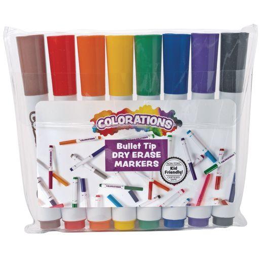 Dry Erase Markers, Bullet Tip, 8 Colors,12 Sets