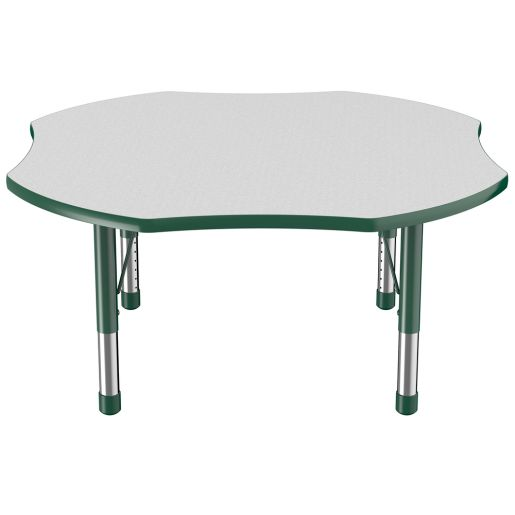 """48"""" Clover Table with Chunky Leg, Gray/Green"""